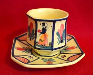 quimper cup saucer soleil yellow