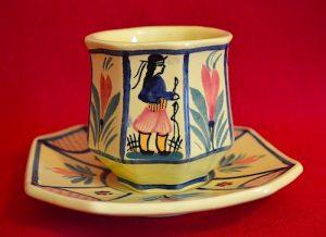 quimper cup saucer soleil yellow